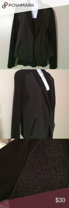 LOFT Gray and Black Casual Blazer Very comfy cozy blazer. Much more casual, great for work. Cotton and polyester blend. Gray and black with front pockets. In excellent condition! LOFT Jackets & Coats Blazers