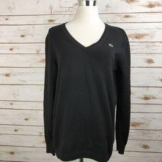 Women's LACOSTE V Neck Sweater 100% Cotton BLACK Size 44 = Size 12 LARGE EUC #Lacoste #VNeck #Casual