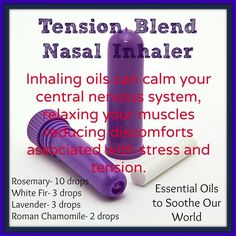 essential oil inhaler for tension headaches Essential Oil Inhaler, Essential Oils 101, Essential Oil Diffuser, Essential Oil Blends, Young Living Oils, Young Living Essential Oils, Herbal Oil, Healing Oils, Doterra Oils