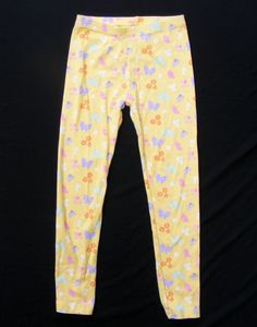 GIRLS' GYMBOREE Printed Leggings, Yellow Butterfly Blossoms 100% Cotton, Size 8 #Gymboree