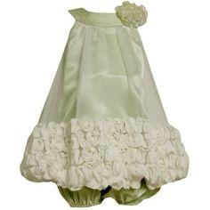 Size-24M BNJ-5348B 2-Piece GREEN WHITE BONAZ ROSETTE BORDER BUBBLE HEM Special Occasion Flower Girl Party Dress,B15348 Bonnie Jean BABY/INFANT Bonnie Jean, http://www.amazon.com/dp/B008BL7K26/ref=cm_sw_r_pi_dp_q1Q2pb149P4A4