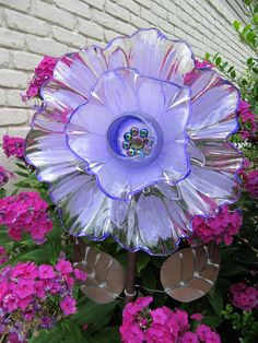 Glass garden flower yard art garden ornament upcycled. -Garden Ornaments-