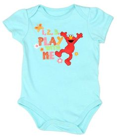 """Sesame Street Baby Girls 2pc Elmo Play With Me Creeper Set  This two piece creeper set has an aqua short sleeves creeper with """"1, 2, 3, Play With Me Elmo screen printed front and snap between the legs. White short sleeves creeper with Elmo, flower, and butterfly pattern throughout. 60% cotton, 40% polyester.  http://www.beststreetstyle.com/sesame-street-baby-girls-2pc-elmo-play-with-me-creeper-set/"""