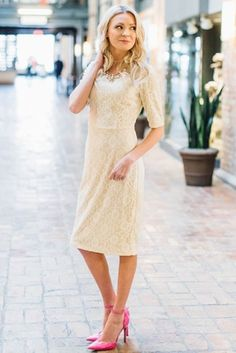 You'll love this chic, stylish lace pencil dress. 4 gorgeous colors to choose from! June Modest Dress in Cream Lace