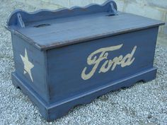 My childhood hope chest turned into my sons toy box. He loves Ford Mustangs, so I painted it up and distressed it all cool :) My childhood hope chest turned into my sons toy box. He loves Ford Mustangs, so I painted it up and distressed it all c Cars Toy Box, Big Toy Box, Baby Bedroom, Baby Boy Rooms, Baby Boy Nurseries, Wooden Toy Chest, Wooden Toy Boxes, In China, Georgia Font