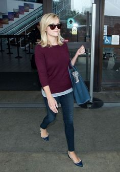 {maroon sweater   navy accessories   Reese Witherspoon} the grey layer is the key point!