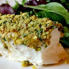 "If you love fish that doesn't taste ""fishy,"" then you need to add this Pistachio-Crusted Halibut to your recipe repertoire."
