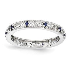 Sterling Silver Stackable Expressions Created Sapphire Ring – Sparkle & Jade