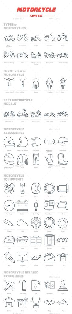 Motorcycle Icon Set by hamfif Well organized into 6 Types of Motorcycles icons) Retro Cafe Racer, Super Sport, Cruiser, Scooter, Adventure Bike Icon, Motorcycle Icon, Motorcycle Types, Motorcycle Gloves, Bobber Motorcycle, Motorcycle Accessories, Motorcycle Mechanic, Motorcycle Adventure, Cruiser Motorcycle