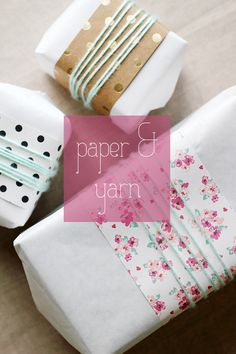 Gift wrapping with pretty scraps of paper and yarn. | Splash of Something http://splashofsomething.com/2014/12/08/wrapping-week-2014-paper-and-yarn/