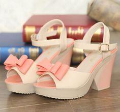 Women Wedges Pumps Sandals 2014 wedges bow tie sandals summer sweet flower platform high heeled open toe women's jelly shoes-inSandals from ...
