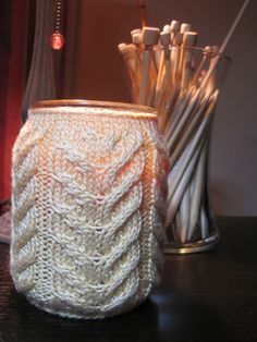 Ravelry: Jar Candle Cozy - Antler Cable pattern by Sasha Baugess