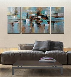 """ARTLAND Hand-painted """"Abstract Tone"""" Oil Painting on Canvas Gallery-wrapped Wall Art Deco Home Decoration Modern Abstract Painting on Canvas 3 Piece Canvas Art, Abstract Canvas Wall Art, Oil Painting Abstract, Wall Canvas, Art Deco Home, Home Wall Art, Wall Art Decor, Oil Painting Gallery, Unique Wall Art"""