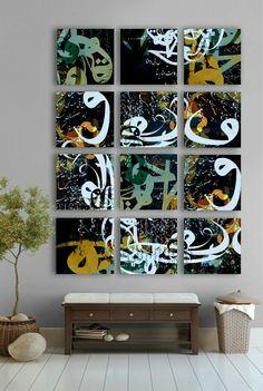 Picture boxes by artist Khalid Shahin create a lovely focal point in this… Decoration, Art Decor, Home Decor, Deco Zen, Islamic Decor, Arabian Art, Tableau Design, Arabic Calligraphy Art, Arabic Design