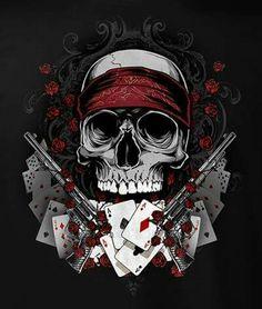 Gamble Gun Skull T-Shirt Black Jack Poker Casino Skull Couple Tattoo, Skull Tattoos, Tatoos, Chicano, Full Body Tattoo, Geniale Tattoos, Skull Artwork, Skull Wallpaper, Tattoo Project
