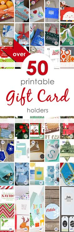 Over 50 Printable Gift Card holders for the holidays. Most are free, some cost a couple of dollars. You'll find everything from stocking holders to snowman boxes, plus Christmas, Hanukkah, and other festive celebrations.