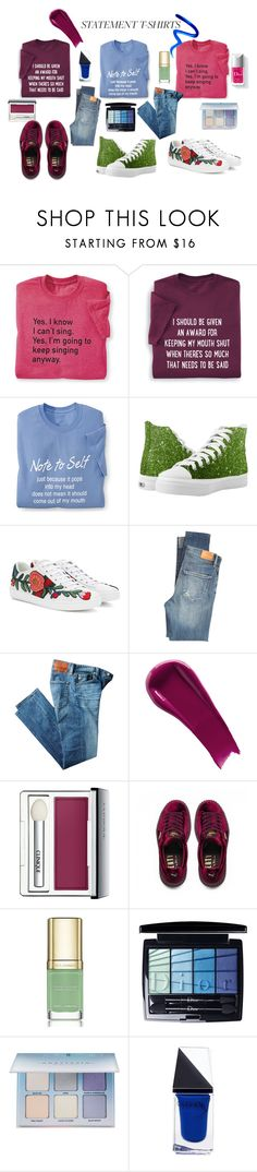 """""""STATEMENT T SHIRT"""" by susibonvi ❤ liked on Polyvore featuring Gucci, Citizens of Humanity, AG Adriano Goldschmied, Couture Colour, NARS Cosmetics, Clinique, Puma, Dolce&Gabbana, Christian Dior and Anastasia Beverly Hills"""