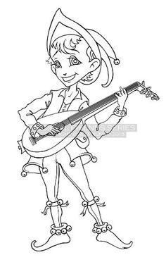"Trying my hand at character design. Coloring Page - Medieval Friends ""Wandering Minstrel"" PDF download vector art"