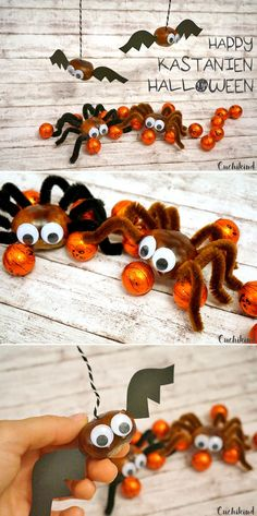 Craft idea Halloween: chestnut spider and bat - Cuchikind - Spiders and chestnut bats for Halloween. The perfect Halloween decoration for the party. Chestnut a - Feliz Halloween, Fröhliches Halloween, Halloween Table, Halloween Crafts For Kids, Diy Halloween Decorations, Halloween Costumes, Kids Crafts, Fall Crafts For Kids, Diy For Kids
