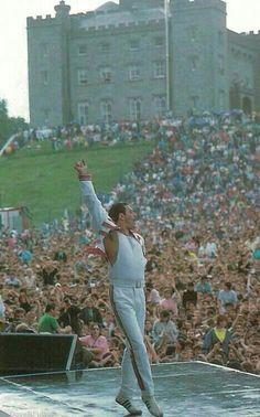 Freddie Mercury,  en pleno concierto
