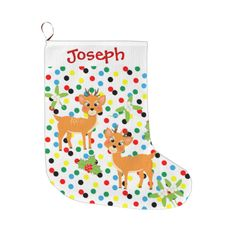 Kids personalized Christmas stockings with a cute two baby reindeer, holly, mistletoe and colorful spots, very festive decor for the holiday season. Don't forget to customize it with your child's name. #cute #baby-deer #cartoon-animals #kids-pictures #fawns #deer #santa's-reindeer #festive #reindeer #cute-animals #happy-santa #template #cute-kids-pictures #holly #mistletoe #cute-graphics #kids-stockings #christmas-decor