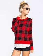 WOVEN HEART Plaid Womens Sweater | Pullovers