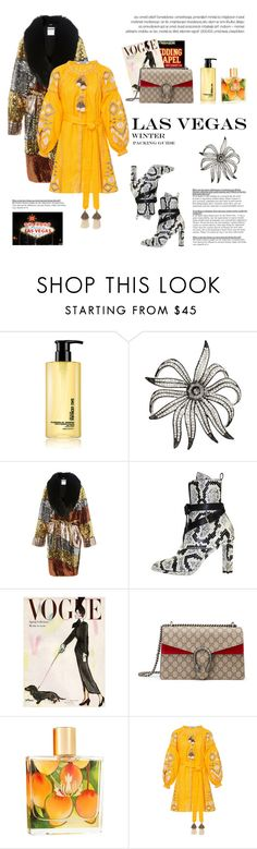 """How to Style a Yellow Dress with a Sequin Coat for Travel to Las Vegas in the Winter"" by outfitsfortravel ❤ liked on Polyvore featuring shu uemura, Kenneth Jay Lane, Moschino, Louis Vuitton, Gucci, Malie Organics and March11"