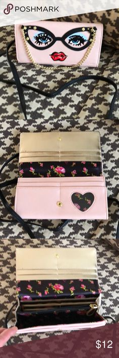 Betsy Johnson Cat Eye Mini Pale pink cat eye design with long black strap that can be worn as a cross body.   Wallet dividers inside plus enough room for cell phone, keys, lipstick. Betsey Johnson Bags Mini Bags