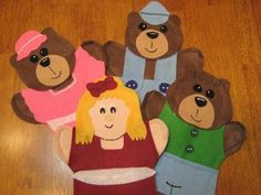 Goldilocks and the 3 Bears hand puppets