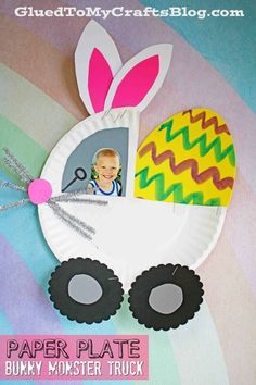 Paper Plate Crafts 298504281553104024 - Paper Plate Bunny Monster Truck – Spring Themed Kid Craft Idea – Easter Crafts – Paper Art Project for Children Source by Paper Plate Crafts For Kids, Easy Easter Crafts, Easter Art, Bunny Crafts, Paper Crafts For Kids, Preschool Crafts, Easter Crafts For Preschoolers, Monster Truck Kids, Diy Osterschmuck