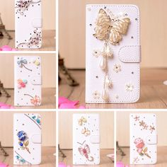Lenovo S580,6 style Luxury 3D Rhinestone White leather Mobile phone bags Case for Lenovo S580 Free shipping