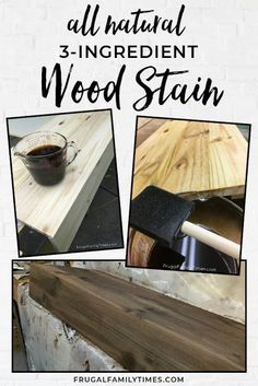 An authentic looking reclaimed wood look - for pennies! This inexpensive DIY reclaimed wood stain is made from simple ingredients from around the house. The perfect mix of grey and rich brown. Bare new wood to reclaimed looking finish in minutes - the how-to is easy. #stain #reclaimedwood #diy #woodfinish