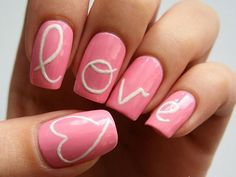 Generally, people thought nail art can be possible on long nails But actually, it's not so! Simple nail art designs for short nails are not only popular Cute Pink Nails, Pink Nail Art, Fun Nails, White Nails, Heart Nail Designs, Simple Nail Art Designs, Jolie Nail Art, Cherry Nails, Nagel Hacks