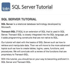 Learn SQL Server with step-by-step tutorial and references Transact Sql, Learn Sql, Sql Server, Language, Learning, Business, Studying, Languages, Teaching