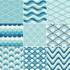 Бесшовные ретро волны шаблон печати - Векторная картинка: 26351889