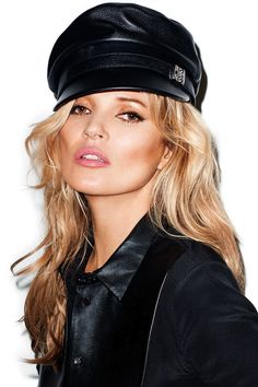 Who What Wear Kate Moss Harpers Bazaar May 2014 Photographer Terry Richardson Kate Moss For Topshop Collection Loose Waves Wavy Hair Accented Cheeks Peach Pink Lipstick Beauty Leather Moto News Cap Hat Silk Black Shirt With Leather Detail