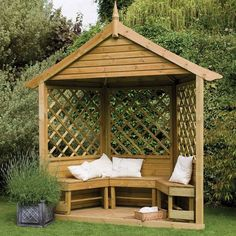 "7'10"" x 3'5"" FT (2.4 x 1.1m) Majestic Corner Wooden Lattice Garden Arbour With Bench Seating"