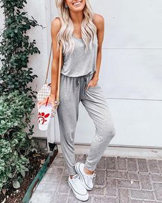 EBUYTIDE Casual Drawstring Waist Spaghetti Straps Jumpsuit – ebuytide Jumpsuit Casual, Short Jumpsuit, Summer Jumpsuit, Jumpsuit Outfit, Summer Romper, Pants Outfit, Long Jumpsuits, Casual Playsuits, Stylish Outfits