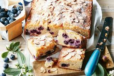 Pour yourself a cup of tea and treat yourself with a slice of this rustic blueberry and almond cake.