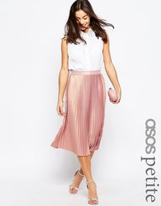 Love this pleated midi skirt in metallic pastel pink