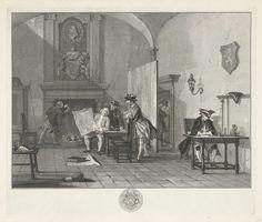 Jacob Houbraken | Tweede corps de garde van Hollandsche officiers, Jacob Houbraken, Cornelis Troost, 1758 - 1760 | Een interieur met verschillende officieren. Rechts zit een man aan een schrijftafel, links is een man bezig met vuur uit de open haard, in het midden kijken drie heren op een kaart. Boven de schoorsteen een wapenschild en daarboven een met een lauwerkrans omgeven portret van een man en profil.