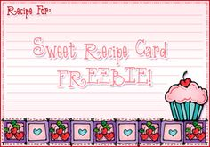 This sweet little Recipe Card FREEBIE will be just the thing for recording the secrets to your most delectable Valentine treats! Only available through 2/11/15.