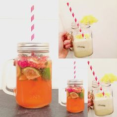 Mojito fraises-framboises & Piña colada sans alcool Cocktails, Drinks, Mason Jars, Mugs, Vegetables, Tableware, Food, Beverages, Strawberry Mojito