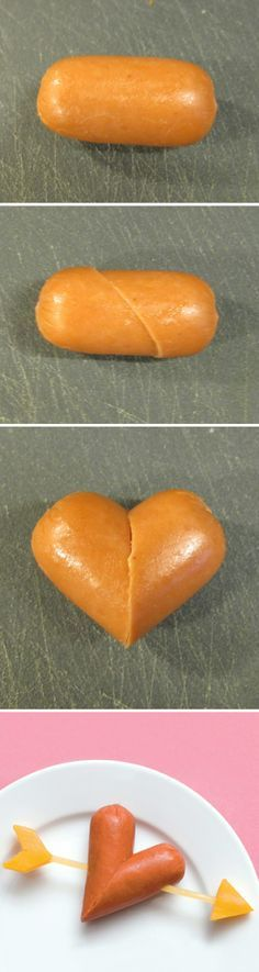 How To Make Mini Wiener Hearts : mini wieners + toothpick + cheese... kids would love this on Valentine's Day!