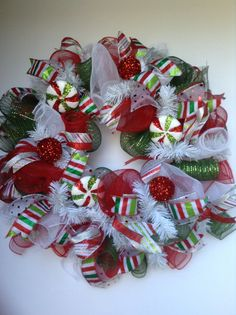 Festive red green and white Christmas deco by WreathsEtcbyJulianne