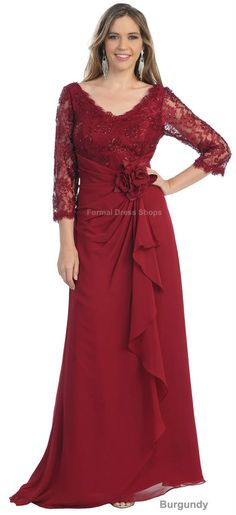 free shipping 2013 PLUS SIZE MOTHER of the BRIDE GROOM DRESS FORMAL EVENING LONG SLEEVE TRENDY GOWN lace Dresses for wedding US $119.00