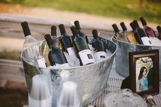 Self-serve wedding bar with Trader Joe's wine :) http://www.neverseriousblog.com/the-perfect-day-wedding-recap-part-3/