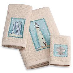 Coastal Collage Bath Towels, 100% Cotton