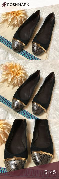 Tory Burch Black Pacey Cap Toe Skimmer Flats Wear these with everything in your closet! Black suede with snake print cap toes, separated by a gold metal logo bar. Cushy insoles. True to size. Worn once- excellent condition. Tory Burch Shoes Flats & Loafers