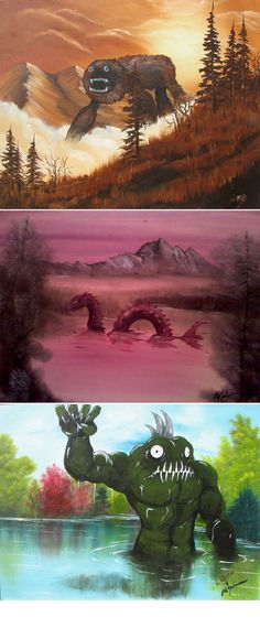 Painting monsters over other people's landscape paintings found at thrift stores